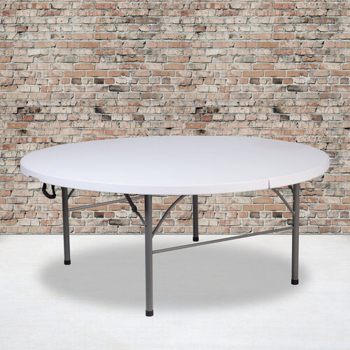 Our 5.89-Foot Round Bi-Fold Granite White Plastic Banquet and Event Folding Table with Carrying Handle is on sale now.