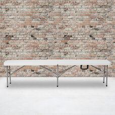 "11''W x 72""L Bi-Fold Granite White Folding Bench with Carrying Handle"