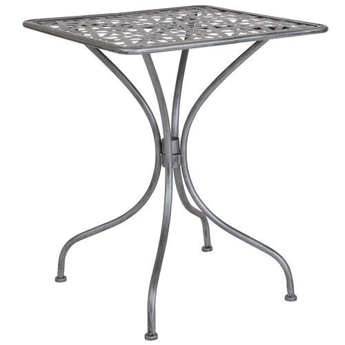 "Our Agostina Series 23.5"" Square Antique Silver Indoor-Outdoor Steel Patio Table is on sale now."