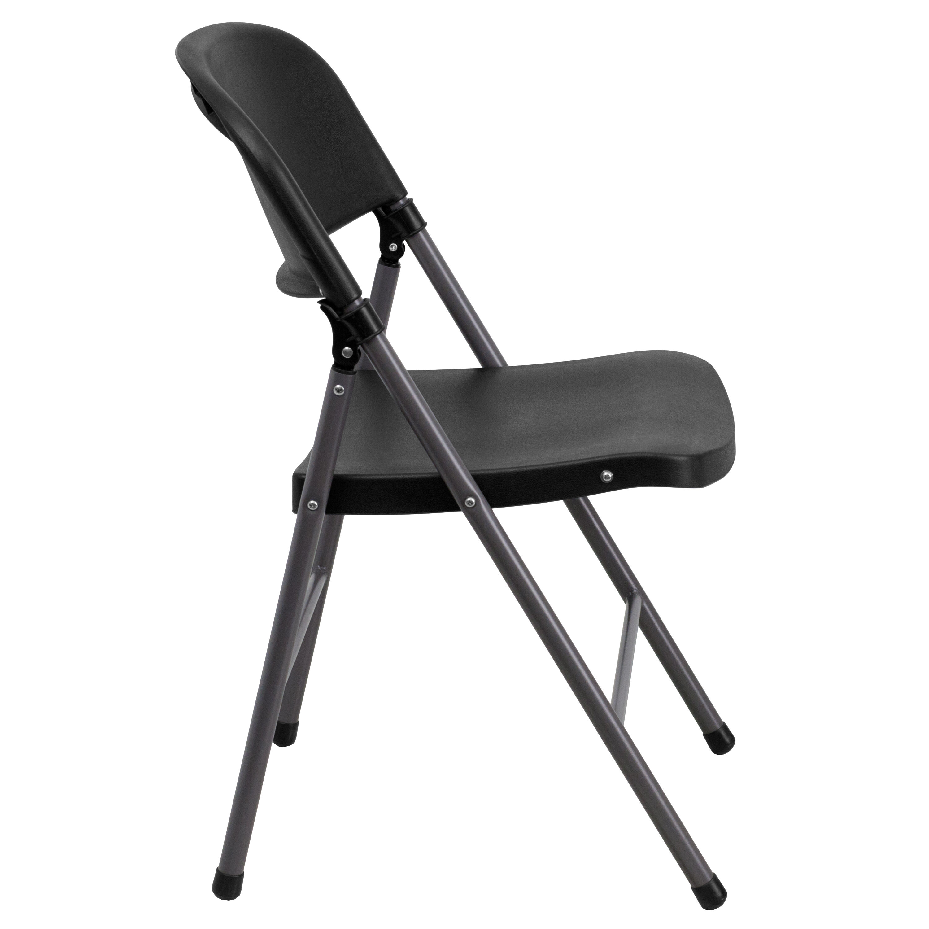 Capacity Black Plastic Folding Chair With Charcoal Frame Is On ...