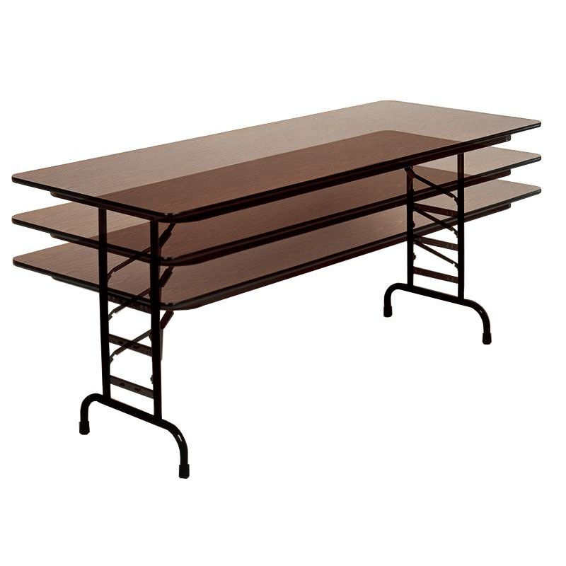 Superbe Adjustable Height Rectangular Melamine Top Folding Table   36