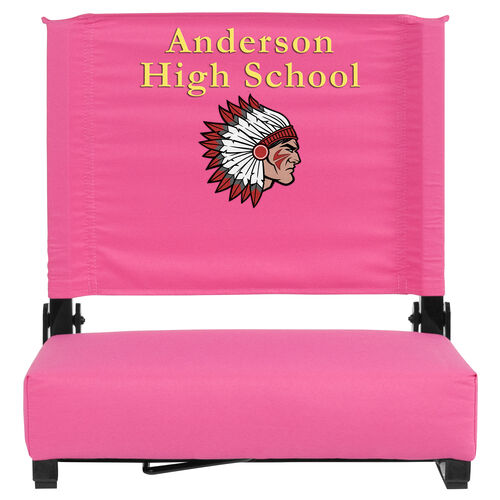 Our Embroidered Grandstand Comfort Seats by Flash with Ultra-Padded Seat in Pink is on sale now.
