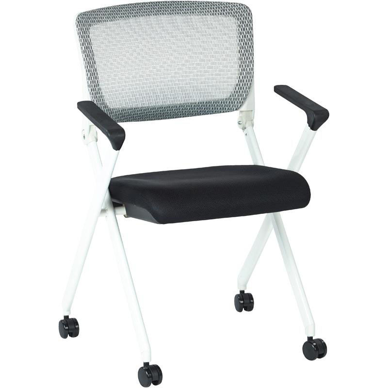 ... Our Space Pulsar Folding Chair With Breathable Mesh Back And Mesh  Fabric Seat   Set Of