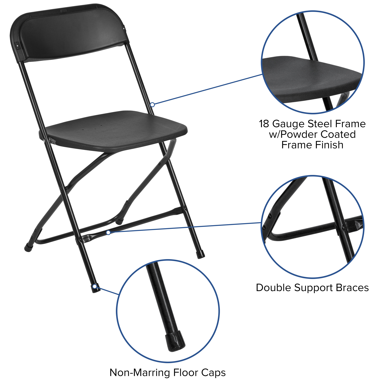 Images. HERCULES Series 800 Lb. Capacity Premium Black Plastic Folding Chair