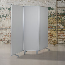 "Double Sided Mobile Magnetic Whiteboard/Cloth Partition with Lockable Casters, 72""H x 24""W (3 sections included)"