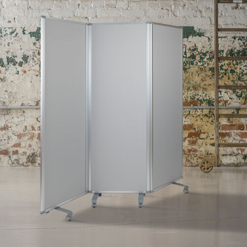 """Our Double Sided Mobile Magnetic Whiteboard/Cloth Partition with Lockable Casters, 72""""H x 24""""W (3 sections included) is on sale now."""
