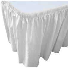 Wave 17 Foot Shirred Pleat Table Skirt with SnugTight™ Clips - White