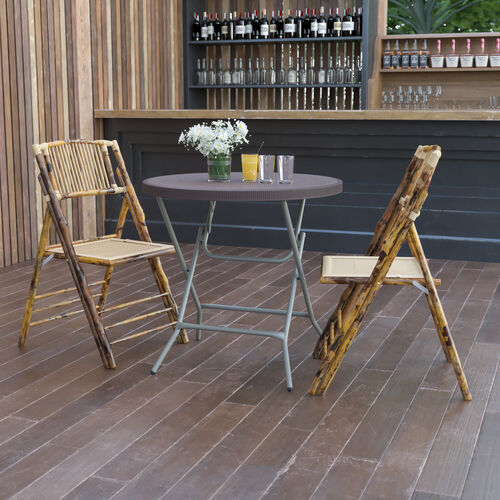 2.6-Foot Round Brown Rattan Plastic Folding Table