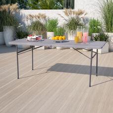 6-Foot Bi-Fold Dark Gray Plastic Folding Table with Carrying Handle