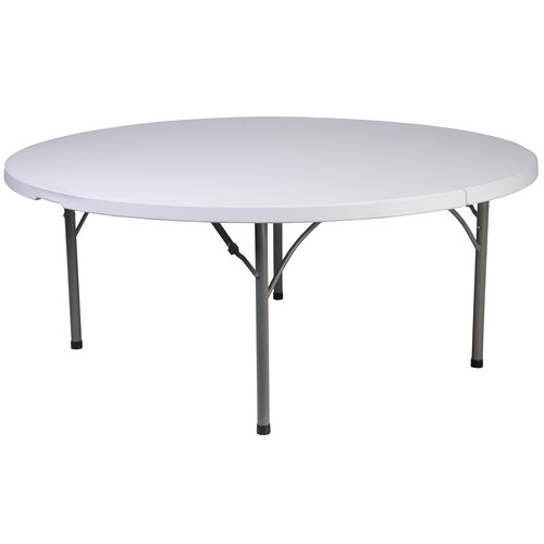 Our 6-Foot Round Granite White Plastic Folding Table is on sale now.