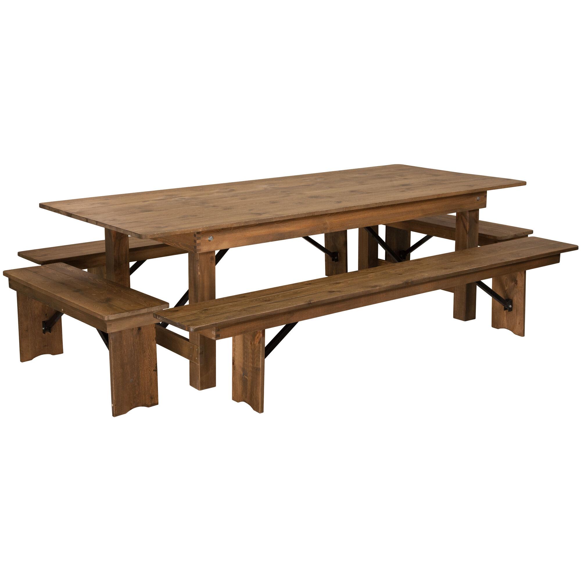Incredible Hercules Series 8 X 40 Antique Rustic Folding Farm Table And Four Bench Set Machost Co Dining Chair Design Ideas Machostcouk