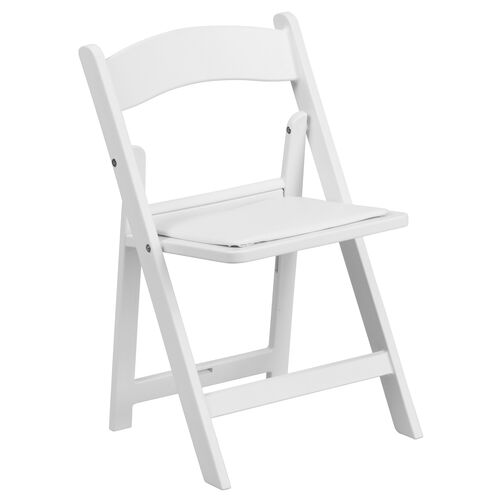 Our Kids White Resin Folding Chair with White Vinyl Padded Seat is on sale now.