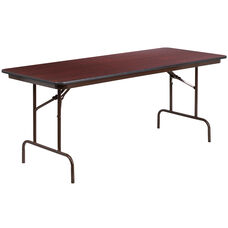 6-Foot High Pressure Mahogany Laminate Folding Banquet Table