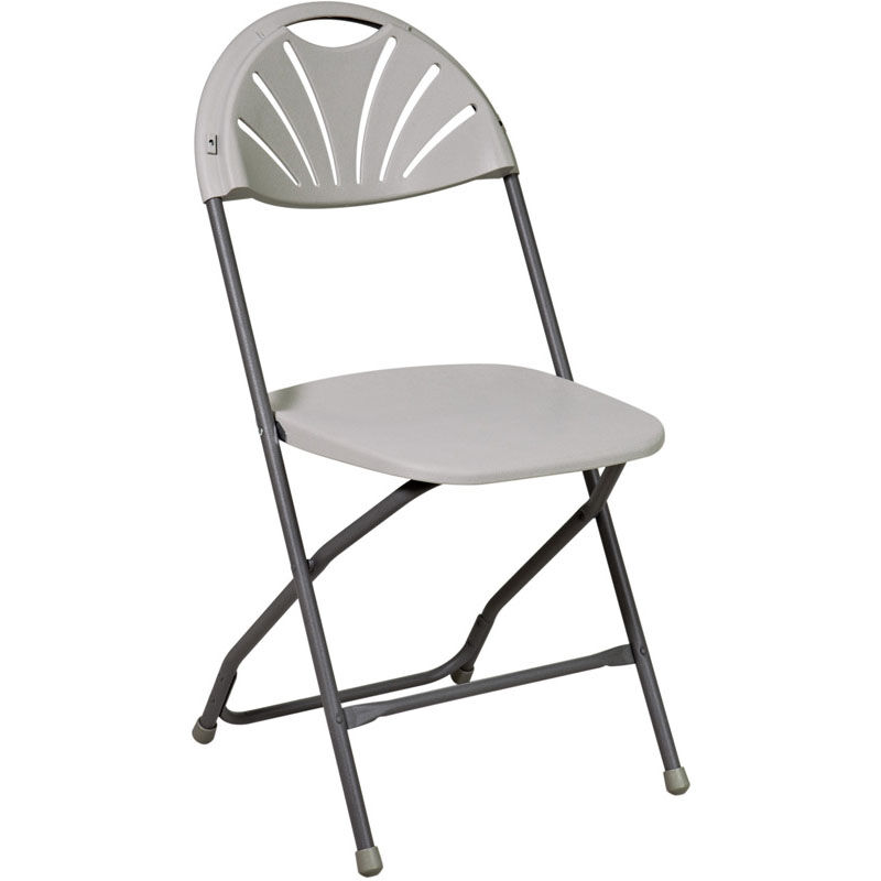 Work Smart Plastic Folding Chair   Set Of 4   Grey