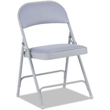 Alera® Traditional Steel Folding Chair with Upholstered Back and Seat - Set of Four - Light Gray