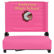 Embroidered Grandstand Comfort Seats by Flash with Ultra-Padded Seat in Pink