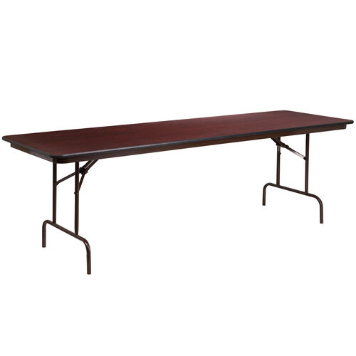 Our 8-Foot Mahogany Melamine Laminate Folding Banquet Table is on sale now.