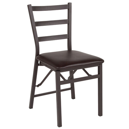 Our Brown Folding Ladder Back Metal Chair with Brown Vinyl Seat is on sale now.