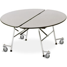 Fold-N-Roll Round Laminate Cafeteria Table with Casters - 48