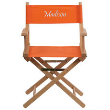 Embroidered Standard Height Directors Chair in Orange