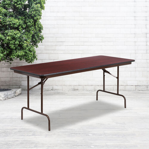 Our 6-Foot High Pressure Mahogany Laminate Folding Banquet Table is on sale now.
