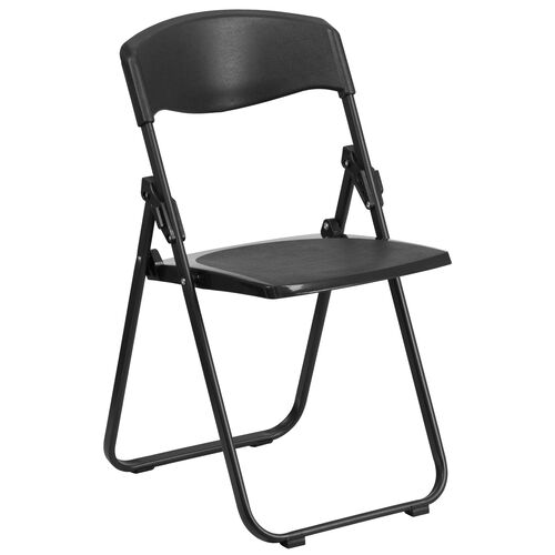Our HERCULES Series 880 lb. Capacity Heavy Duty Black Plastic Folding Chair with Built-in Ganging Brackets is on sale now.