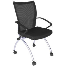 Apprentice 36''H Mesh Back Nesting Chair with Casters - Black