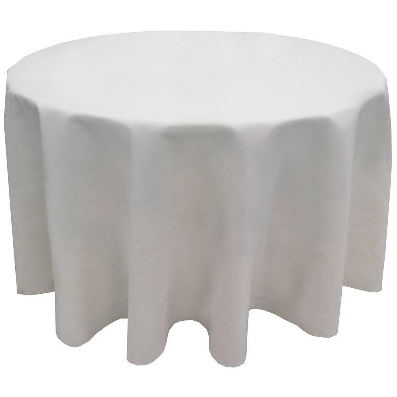 ... Our MarketPlaceu0026trade; 120u0027u0027 Round Polyester Plain Weave Tablecloth  With Overlocked Hem   White ...