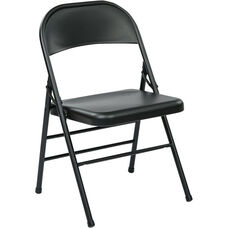 Work Smart Folding Chair with Metal Seat and Back - Set of 4 - Black