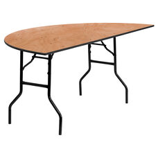 6-Foot Half-Round Wood Folding Banquet Table