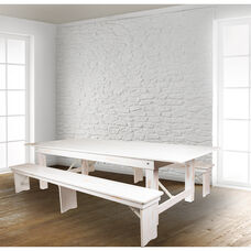 "HERCULES Series 9' x 40"" Antique Rustic White Folding Farm Table and Two Bench Set"