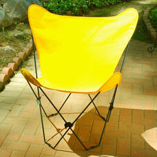 Folding Butterfly Chair with Black Steel Frame and Cotton Cover - Sunny Gold
