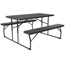 Foldingchairs4less plastic folding picnic tables insta fold charcoal wood grain folding picnic table and benches watchthetrailerfo