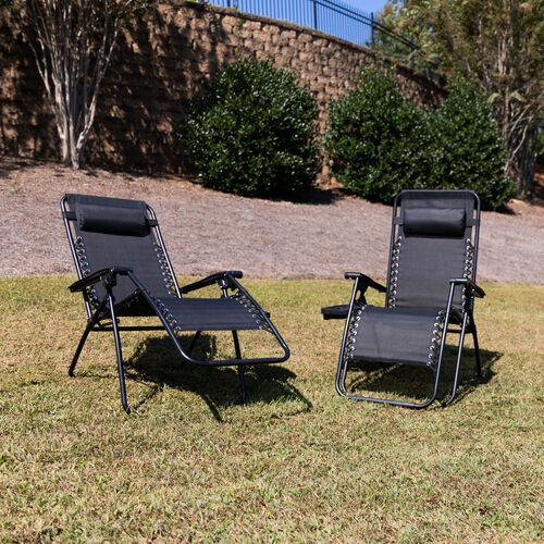Our Adjustable Folding Mesh Zero Gravity Reclining Lounge Chair with Pillow and Cup Holder Tray in Black, Set of 2 is on sale now.