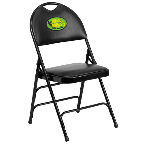 Our Embroidered HERCULES Series Ultra-Premium Triple Braced Black Vinyl Metal Folding Chair with Easy-Carry Handle is on sale now.