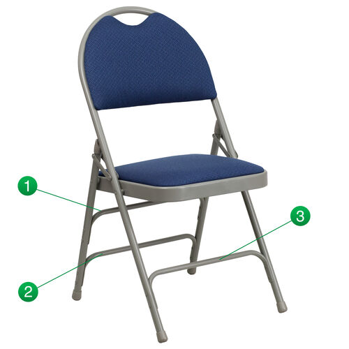Our HERCULES Series Ultra-Premium Triple Braced Navy Fabric Metal Folding Chair with Easy-Carry Handle is on sale now.