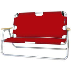 Two Person Folding Aluminum Frame Sport Couch with Storage - Red