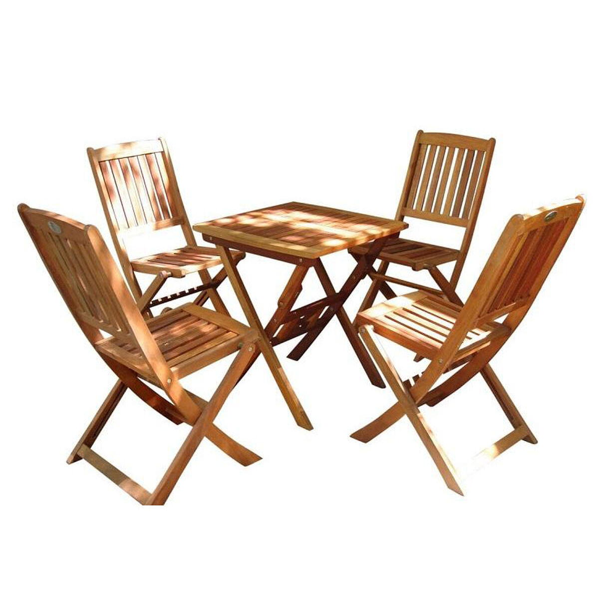Our Malibu 5 Piece Outdoor Wood Folding Bistro Set With Table And 4 Chairs Is