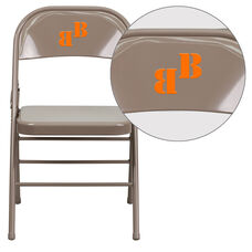 Personalized HERCULES Series Triple Braced & Double Hinged Beige Metal Folding Chair
