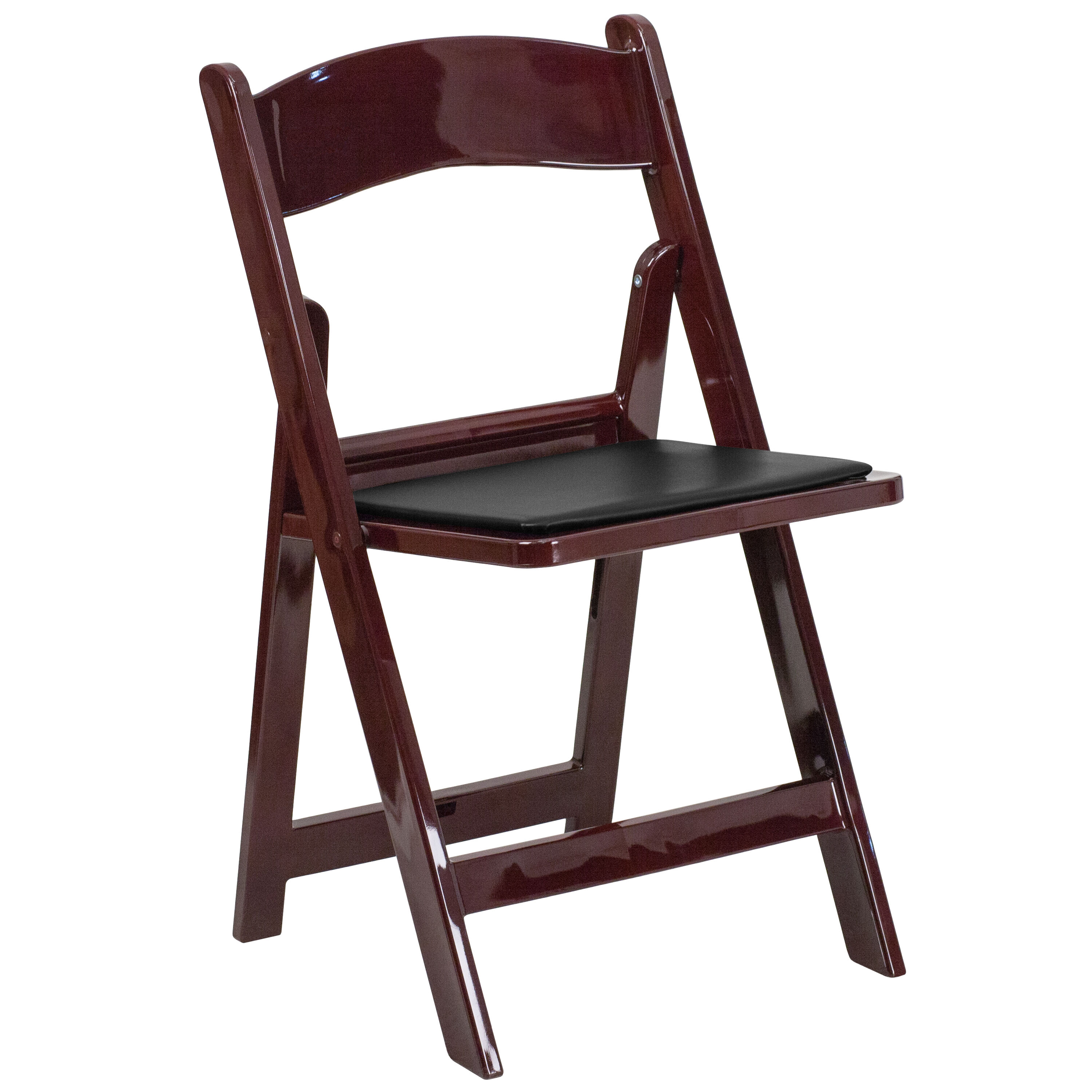 Capacity Red Mahogany Resin Folding Chair With Black Vinyl Padded Seat