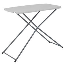 2.5-Foot Height Adjustable Granite White Plastic Folding Table