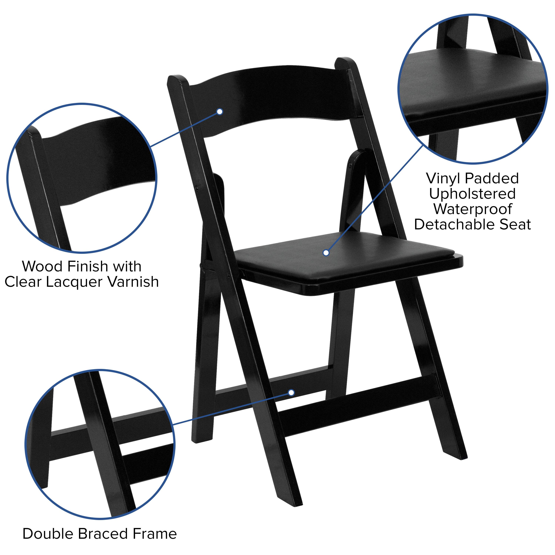 Lot Of 2 Hercules Series Fruitwood Wood Folding Chair With Vinyl Padded Seat Isp Paris
