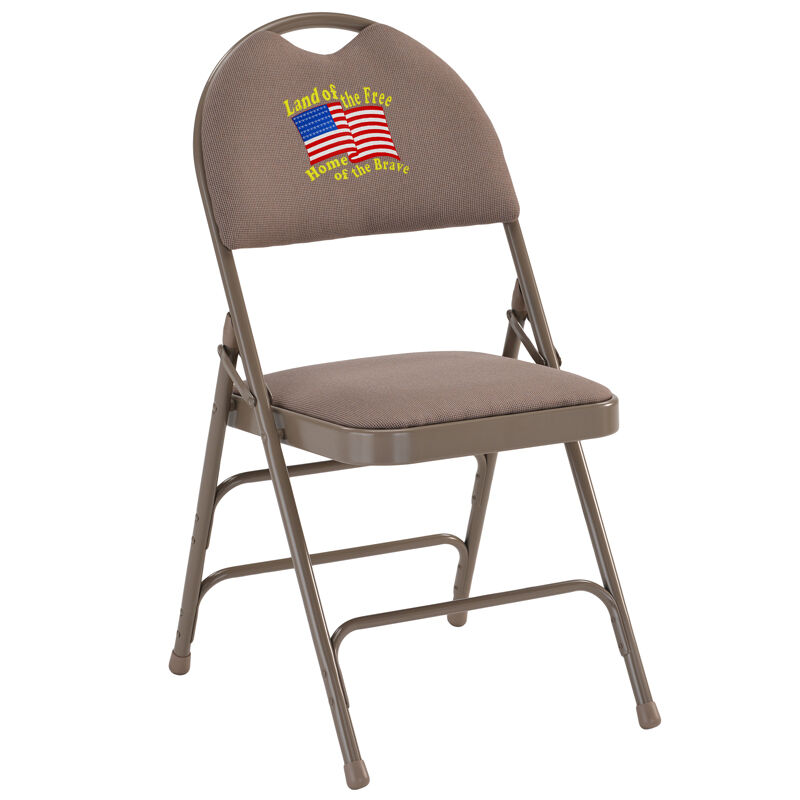 Embroidered HERCULES Series Ultra Premium Triple Braced Beige Fabric Metal  Folding Chair With Easy