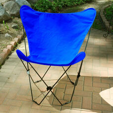 Folding Butterfly Chair with Black Steel Frame and Cotton Cover - Royal Blue