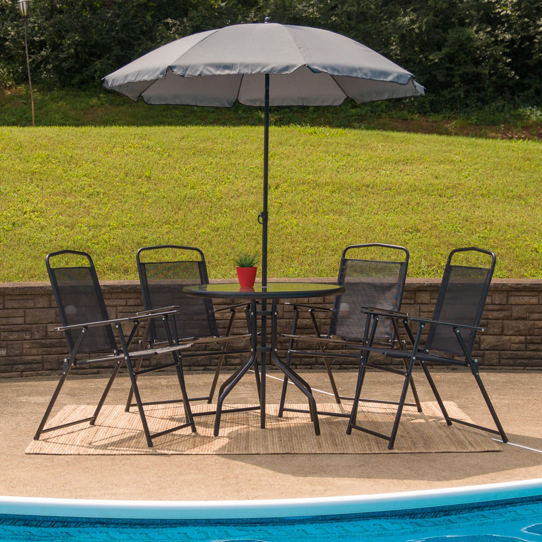 6PC Black Patio Set & Umbrella GM-202012-BK-GG | FoldingChairs4Less.com