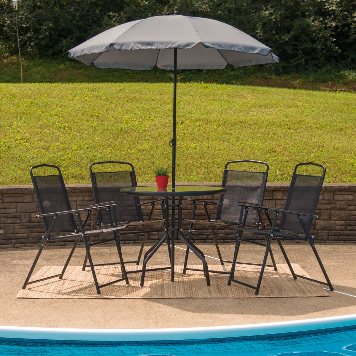 Our Nantucket 6 Piece Black Patio Garden Set With Table Umbrella And 4 Folding Chairs
