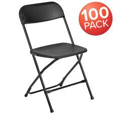 HERCULES Series 100 Pack 650 lb. Capacity Premium Black Plastic Folding Chair