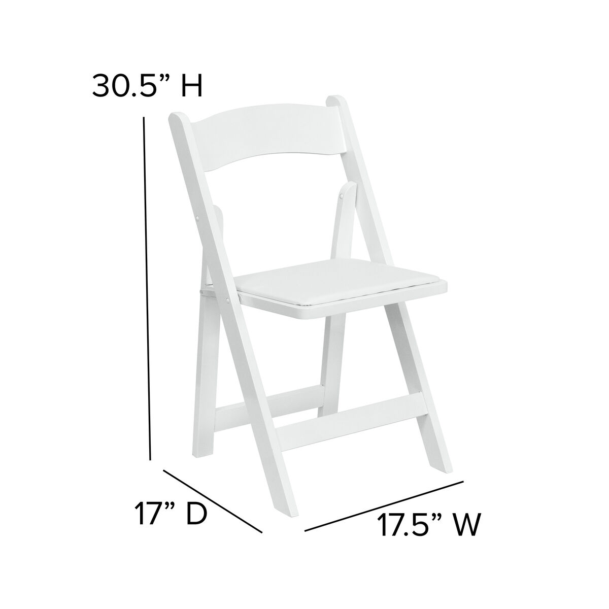 Excellent Hercules Series White Wood Folding Chair With Vinyl Padded Seat Ibusinesslaw Wood Chair Design Ideas Ibusinesslaworg
