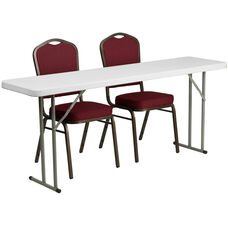 6-Foot Plastic Folding Training Table Set with 2 Crown Back Stack Chairs