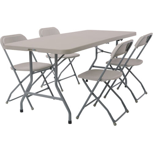 Our Work Smart Blow Mold 5-Piece Folding Chair and Table Set is on sale now.